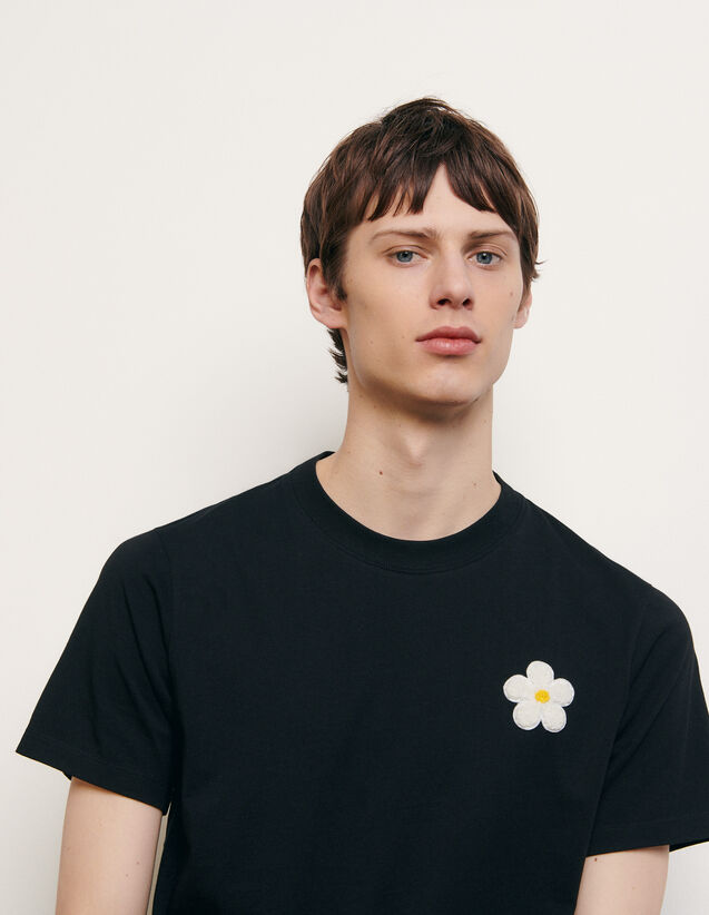 Cotton T-Shirt With Embroidered Patch : T-shirts & Polo shirts color white