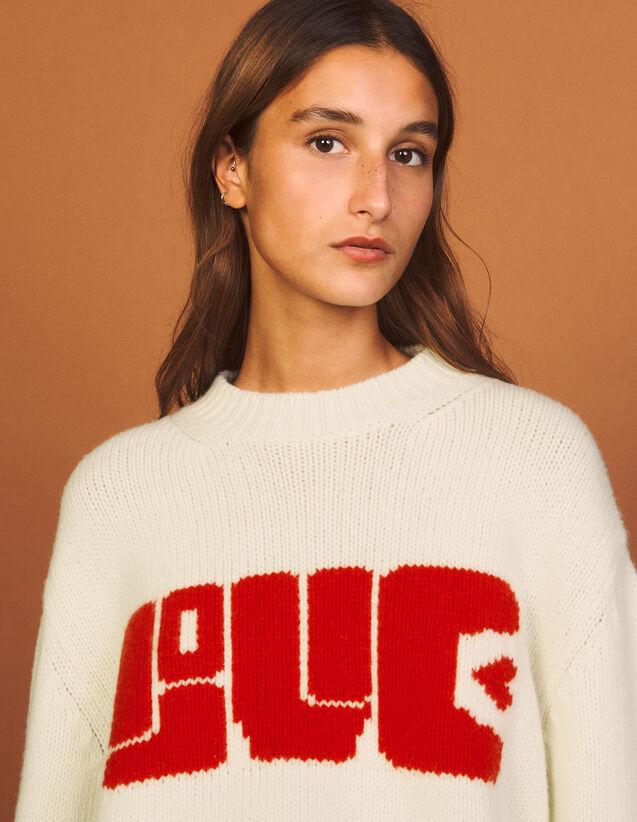Jacquard Wool Sweater : Sweaters & Cardigans color Ecru