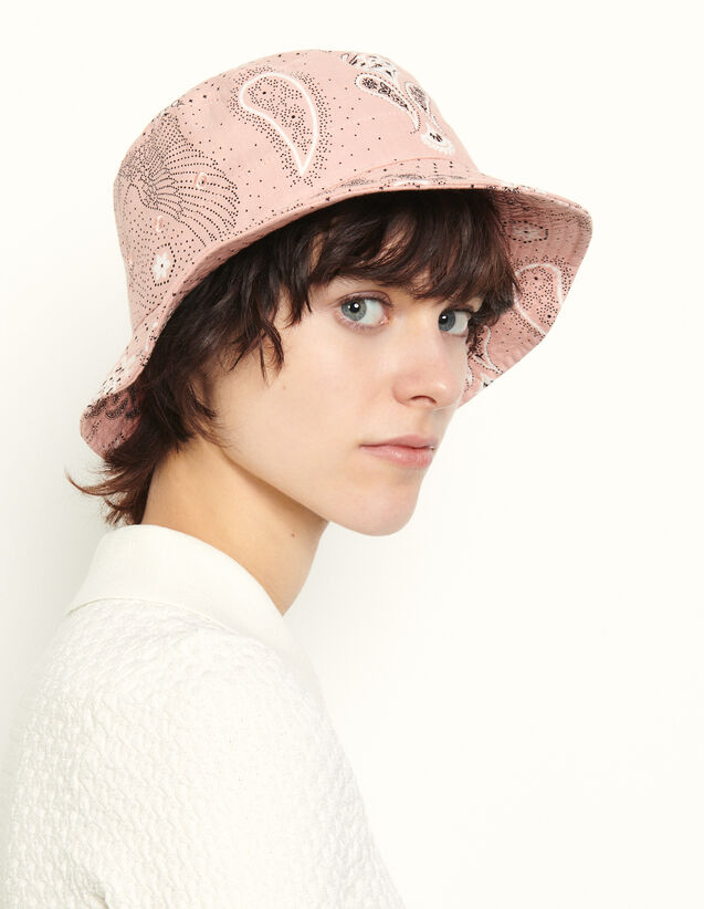 Printed Linen Hat : Other accessories color Pink