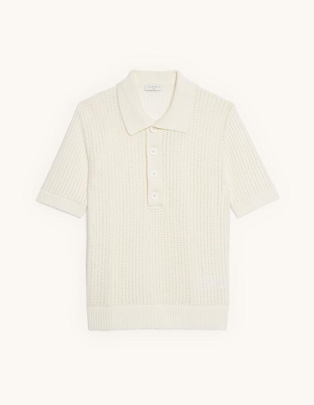 Openwork Knit Polo Shirt : T-shirts & Polo shirts color Ecru