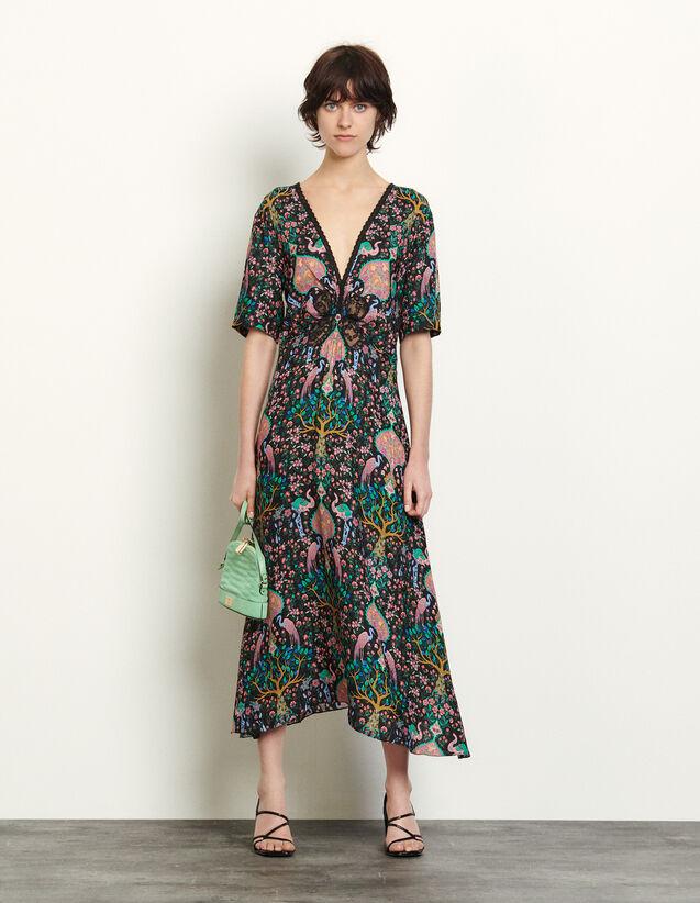 Long Dress In Printed Jacquard : Dresses color Black