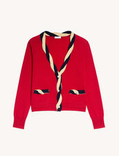Cropped Cardigan In Wool And Cashmere : Sweaters & Cardigans color Red
