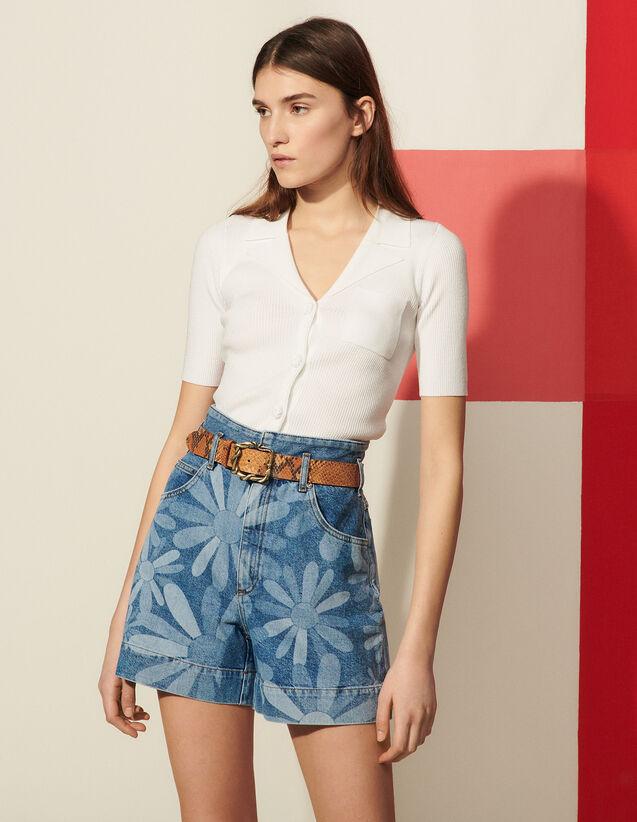 Printed Denim Shorts : Skirts & Shorts color Bleu Denim