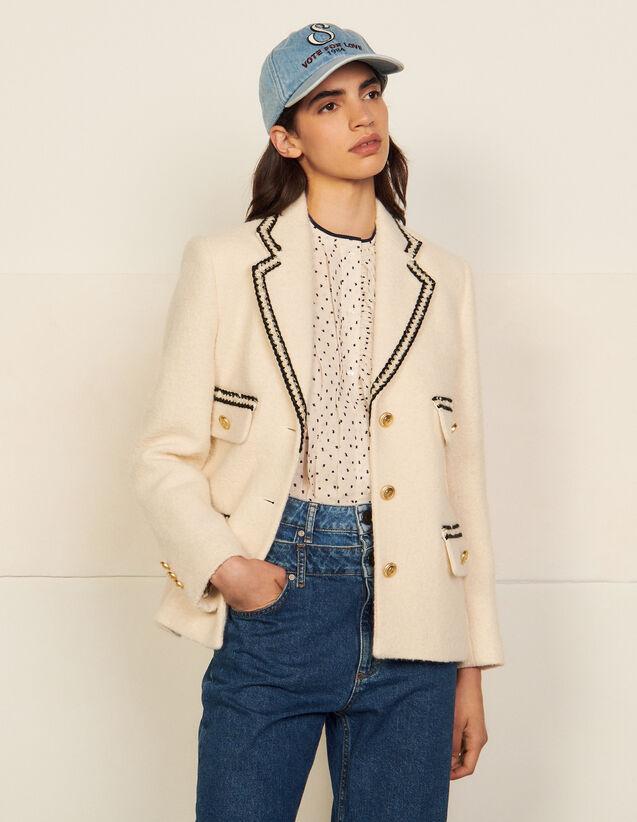 Tweed Tailored Jacket : Blazers & Jackets color Ecru