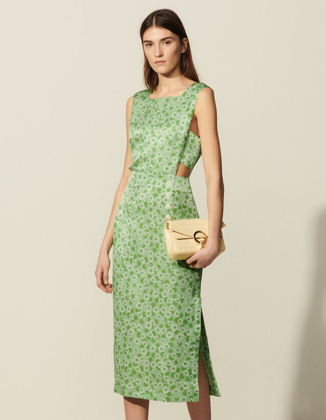 Long Printed Dress With Wide Straps : Dresses color Green