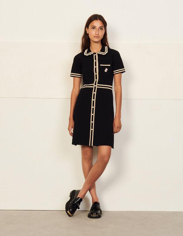 Short-Sleeved Dress With Contrast Trim : Dresses color Black