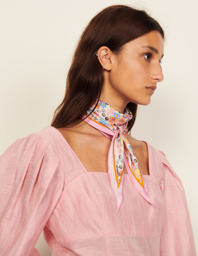 Cropped Linen Top With Full Sleeves : Tops color Pink
