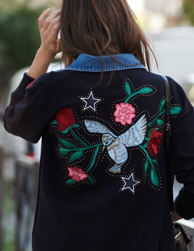 Embroidered Cardi-Coat With Denim Collar : Cardigans color Navy Blue