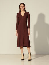 Long Ribbed Knit Dress : Dresses color Cacao