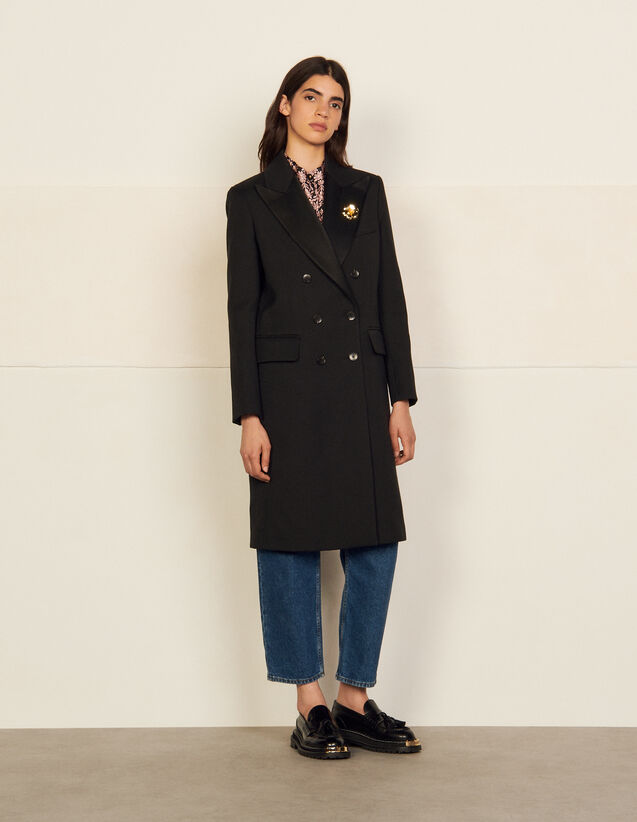 Long Coat With Tailored Collar : Coats color Black