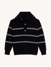 Breton Sweater With Contrasting Cables : Sweaters & Cardigans color Black
