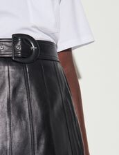 A-Line Skirt With Leather Cut-Outs : Skirts & Shorts color Black