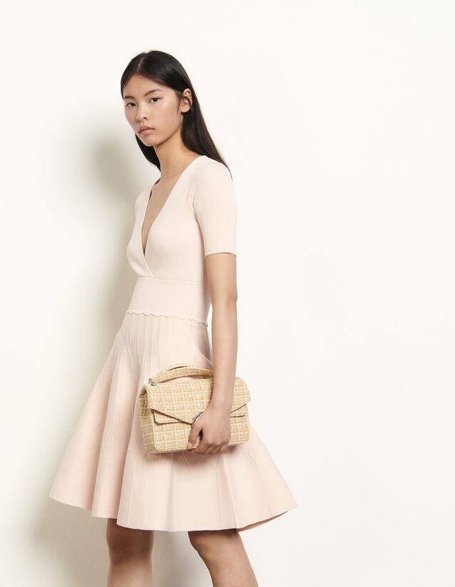 Short Textured Knit Dress : Dresses color Powder