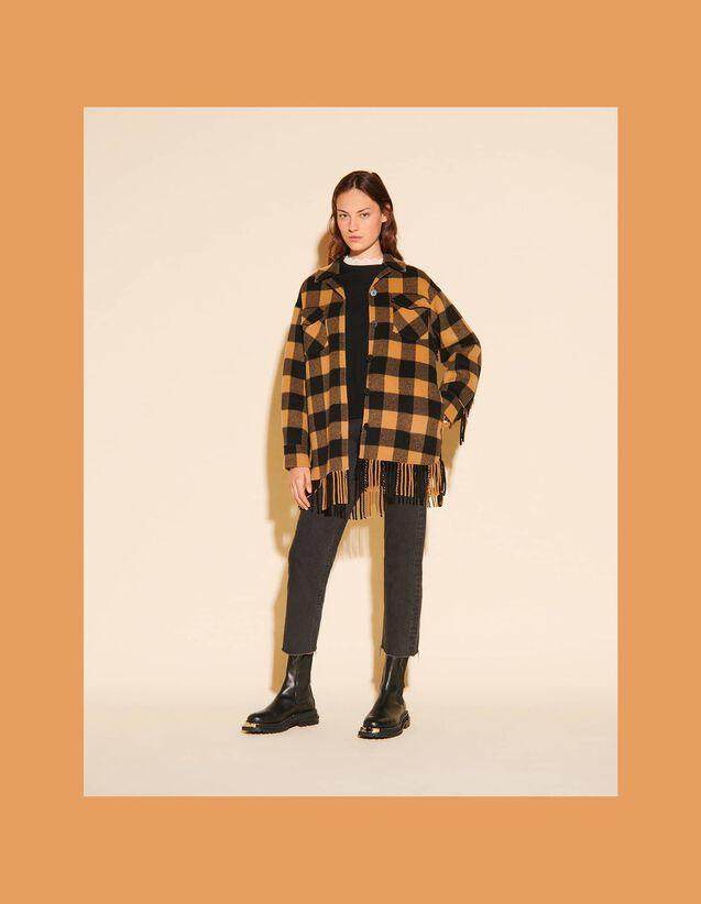 Oversized Checked Shirt Jacket : Coats color Camel / Black