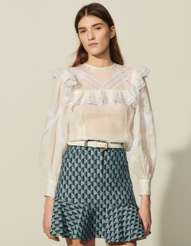 Top With Braid Trim And Ruffles : Tops color Ecru