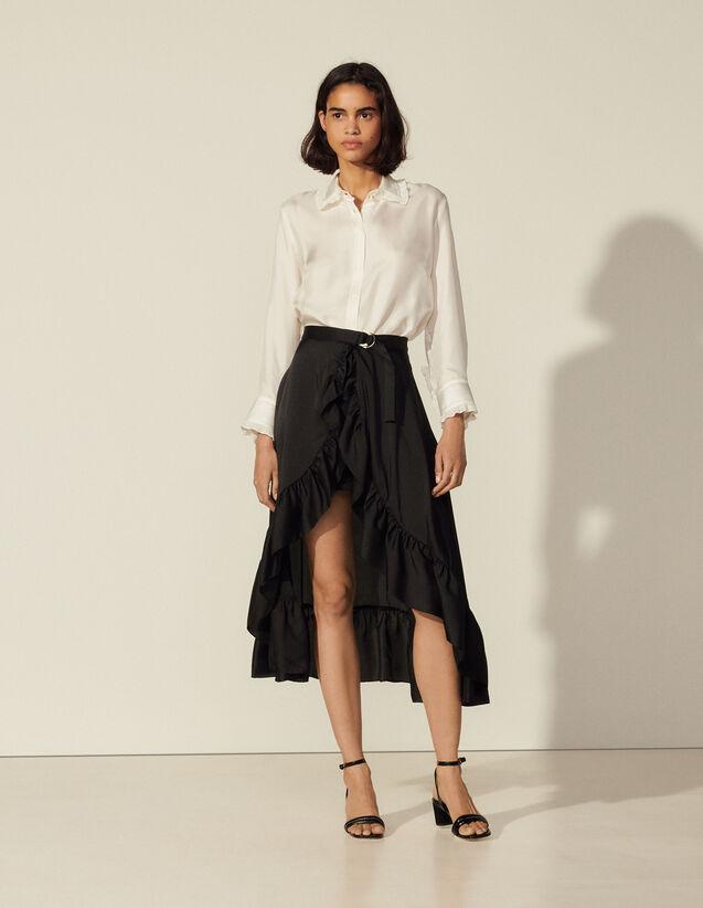 Ruffled Asymmetric Skirt : Skirts & Shorts color Black