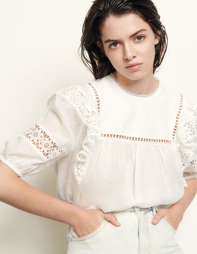 Top With Braid Trim And Inserts : Tops color white