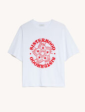 T-Shirt With Contrasting Print : T-shirts color white