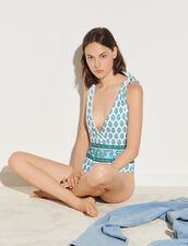 Tie-Fastening Printed Swimsuit : Swimswear color Green