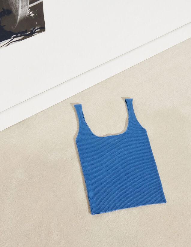 Ribbed Knit Cropped Vest Top : Tops color Beige