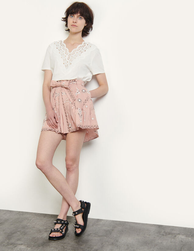 Linen And Cotton Printed Shorts : Skirts & Shorts color Powder