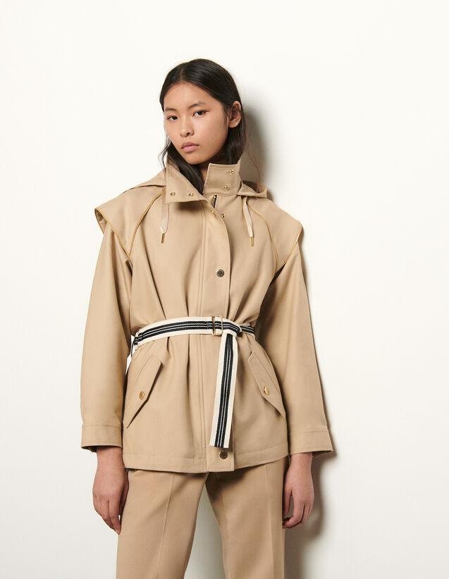 Cotton Gabardine Parka : Coats color Beige