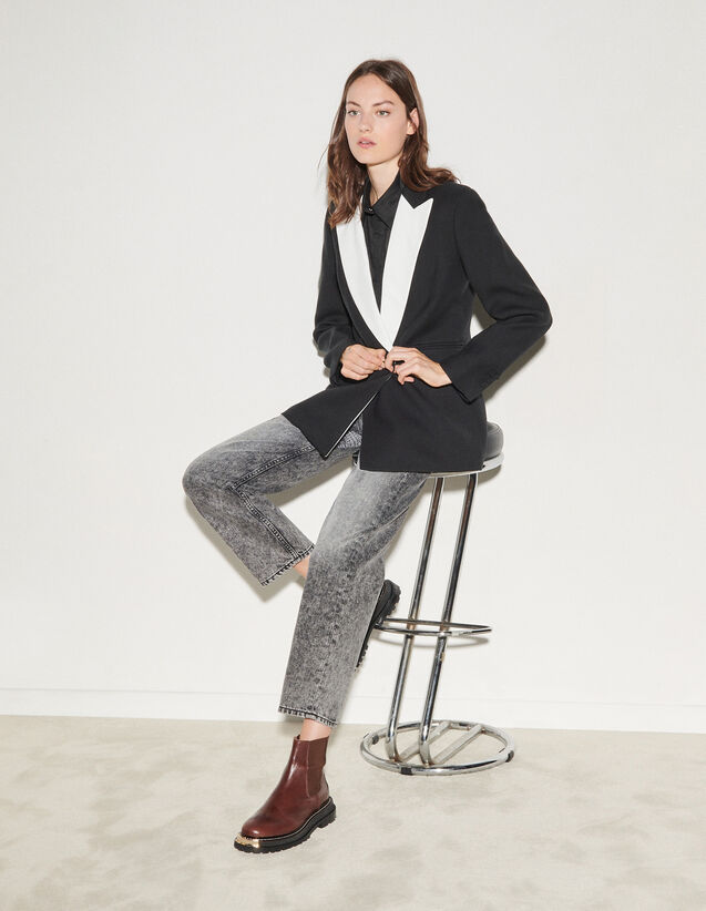 Tailored Jacket With Contrasting Lapels : Blazer & Jacket color Black