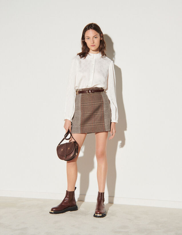 Short Checked Skirt : Skirts & Shorts color Beige / Grey
