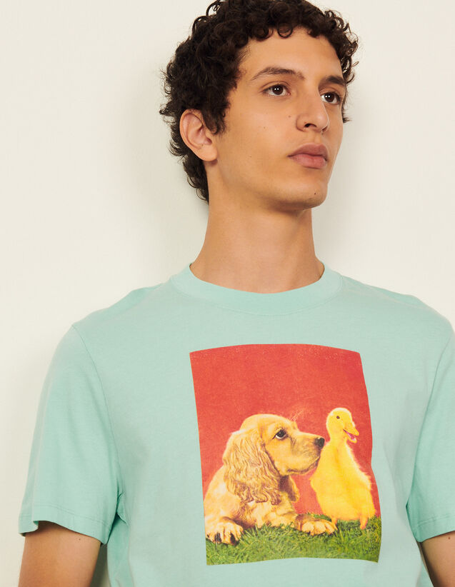 Cotton T-Shirt With Imagery : T-shirts & Polo shirts color Light Green
