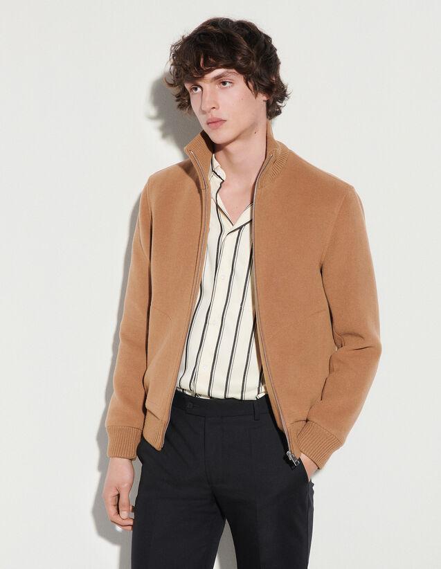 Wool Zipped Jacket : Trench coats & Coats color Beige
