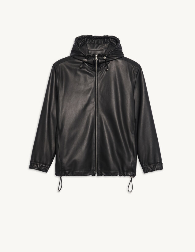 Leather Jacket : Trench coats & Coats color Black