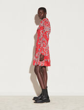 Short Printed Dress With Draped Neckline : Dresses color Red