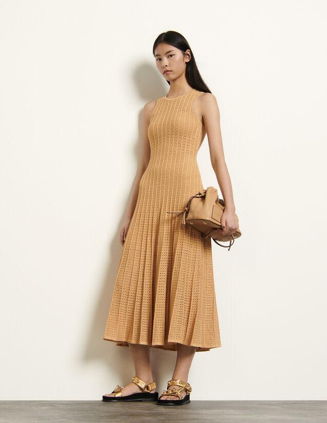 Long Patterned Pointelle Dress : Dresses color Gold