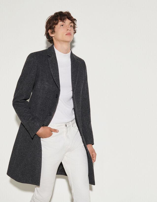 中长款派克大衣 : Jackets & Coats color Charcoal Grey