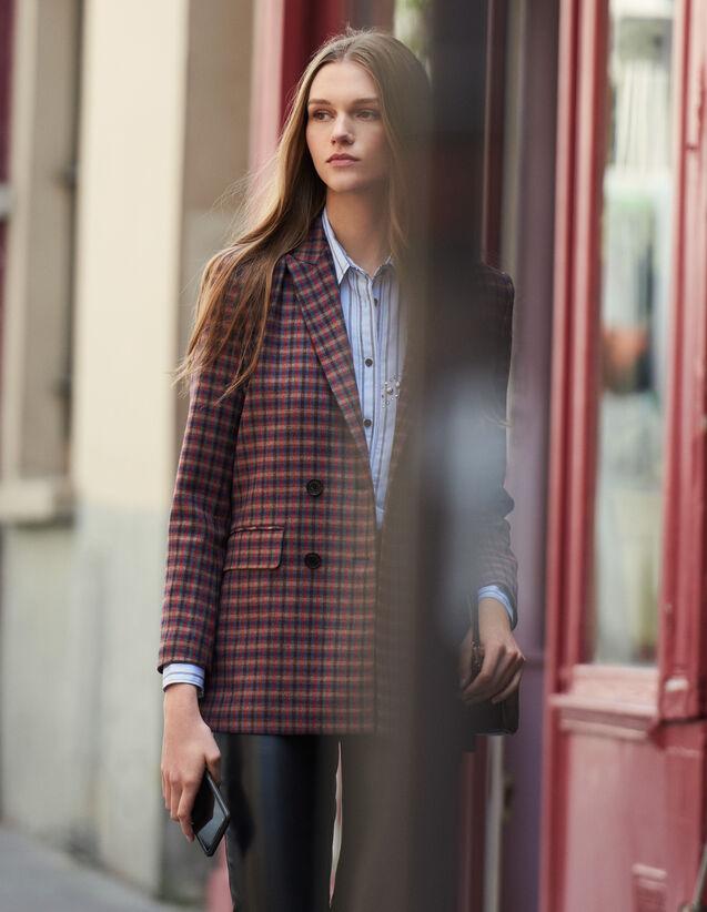 Checked Double-Breasted Blazer : Blazer & Jacket color Multi-Color