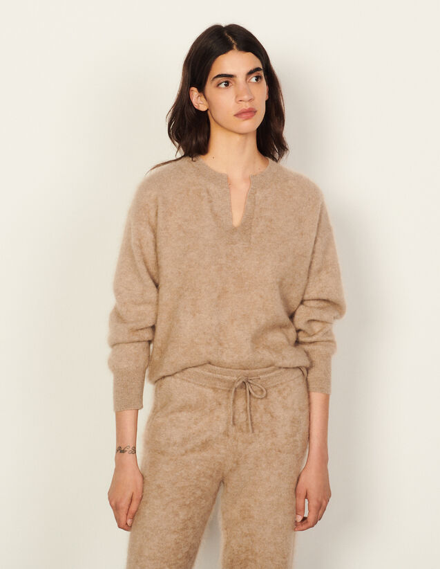 Brushed Cashmere Sweater : Sweaters & Cardigans color Taupe