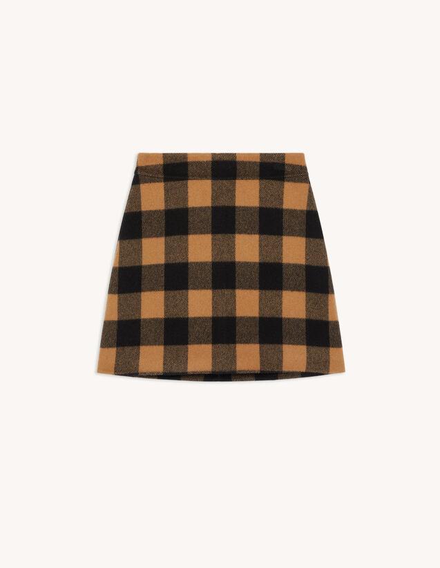 Short Checked Wool Skirt : Skirts & Shorts color Camel / Black