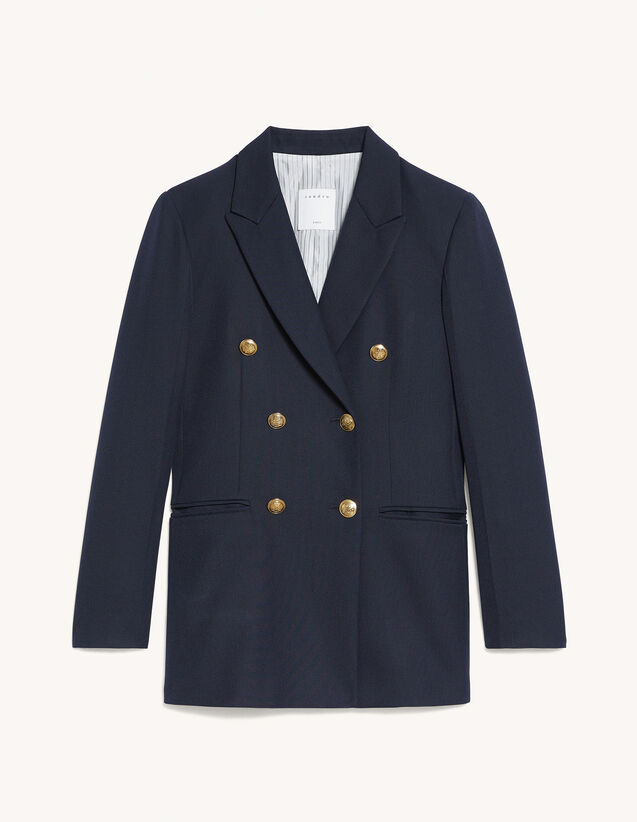 Double-Breasted Suit Jacket : Blazer & Jacket color Navy Blue