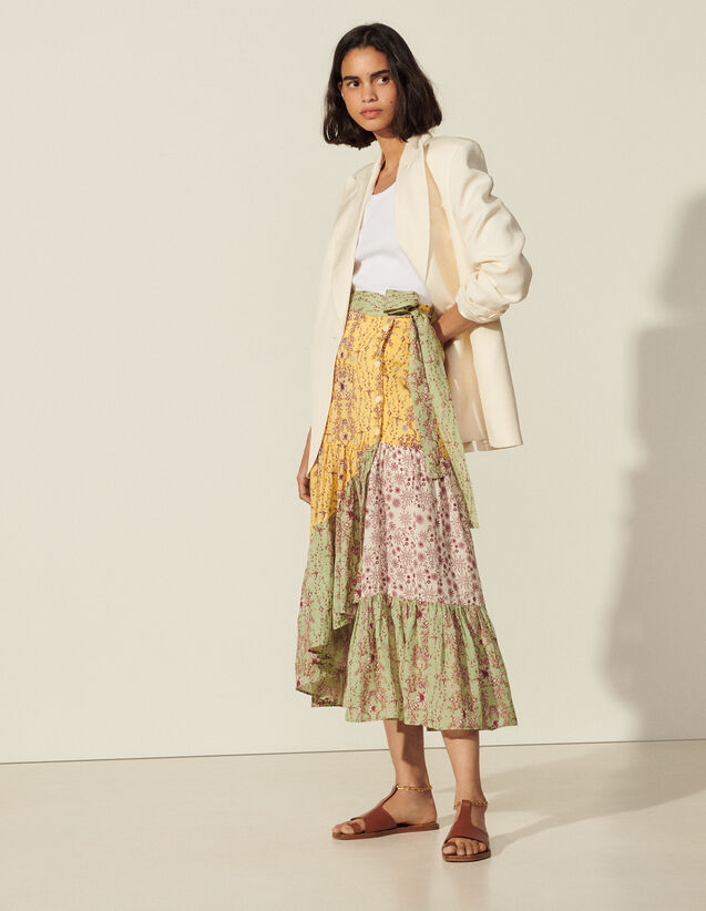 Long Printed Asymmetric Skirt : View All color Multi-Color