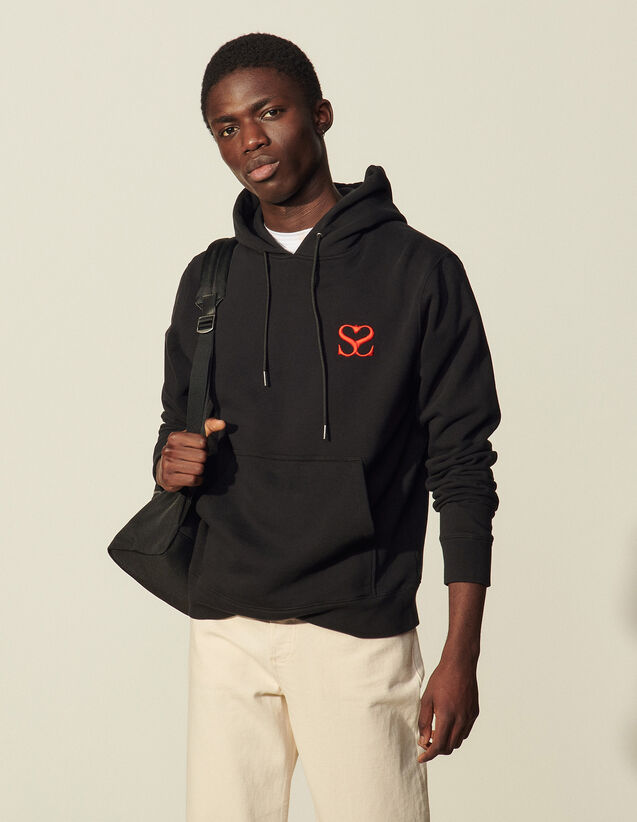 Embroidered Hooded Sweatshirt : Sweatshirts color Black
