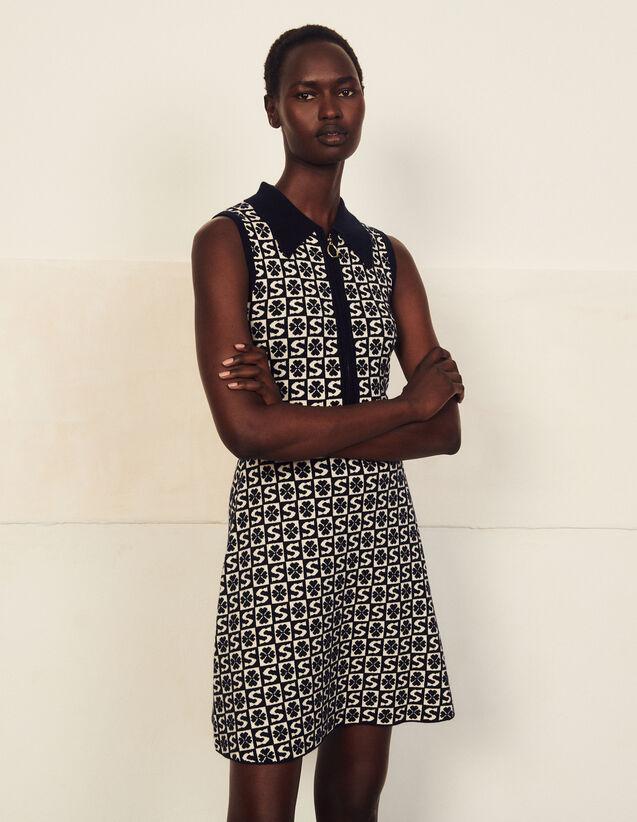 Sleeveless Jacquard Pattern Polo Dress : Dresses color Marine / Blanc