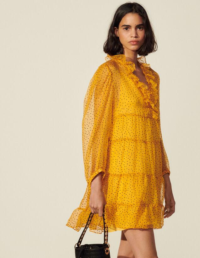 Short Dotted Swiss Dress : Dresses color Ochre