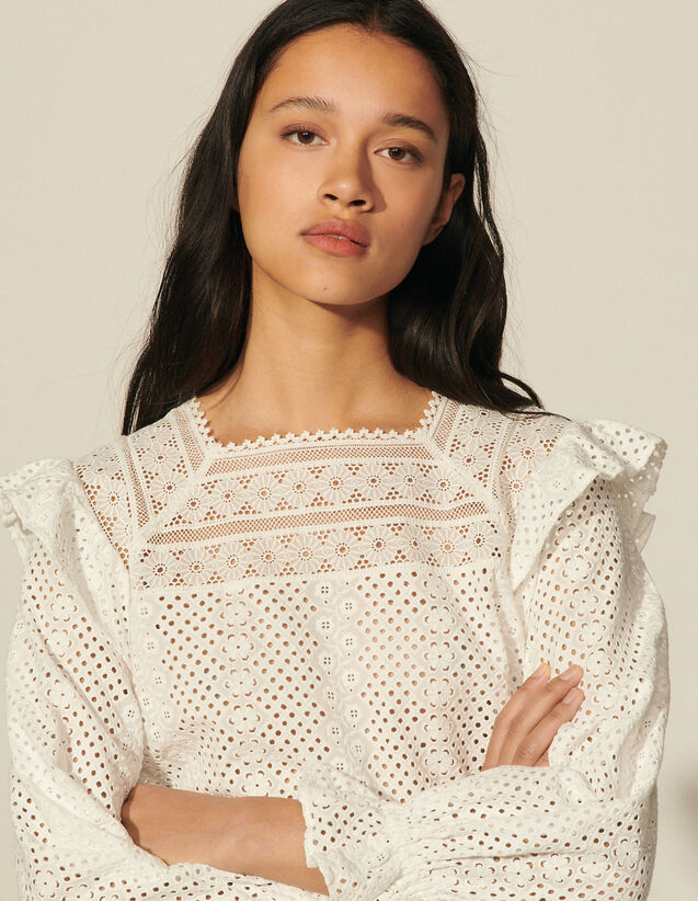 Broderie Anglaise Cropped Top : View All color Ecru