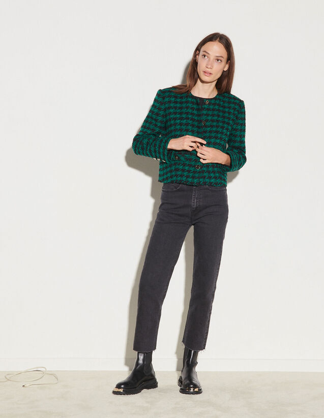 Short Tweed Jacket : Blazer & Jacket color Green / Black