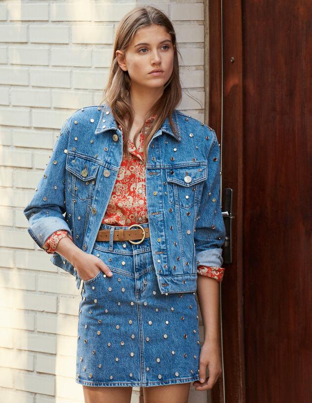 Denim Jacket Trimmed With Studs : Blazer & Jacket color Blue Jean