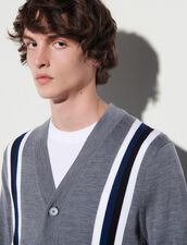 Cardigan With Contrasting Stripes : Sweaters & Cardigans color Grey