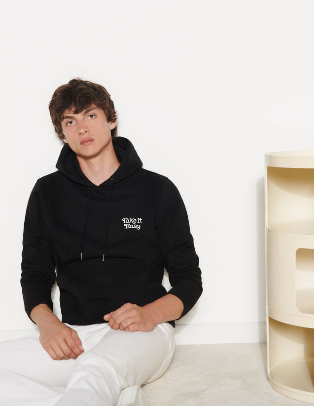 Embroidered Hoodie : Sweatshirts color Black