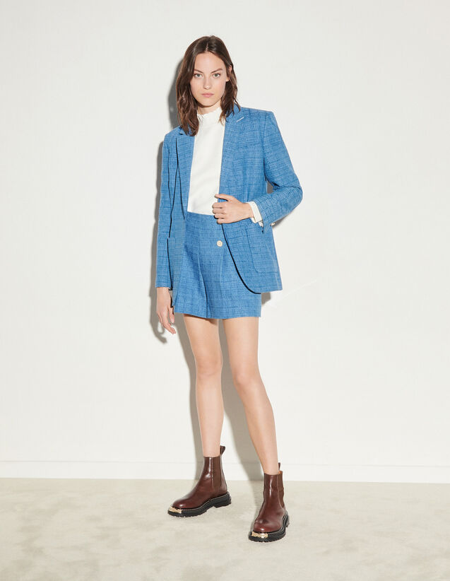 Jacquard Denim Jacket : Blazer & Jacket color Blue Jean