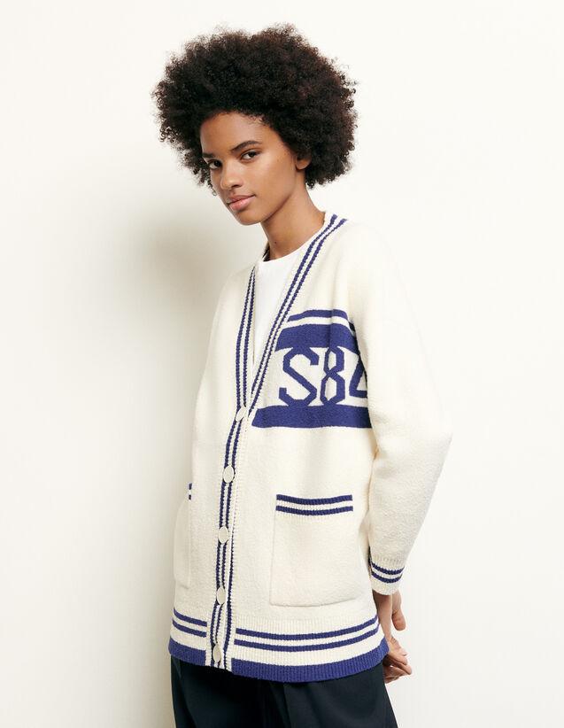 Oversized Striped Cardigan : Love & Smile color Ecru