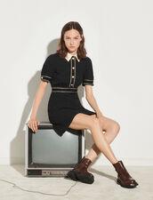 Short-Sleeved Tweed Dress : Dresses color Black